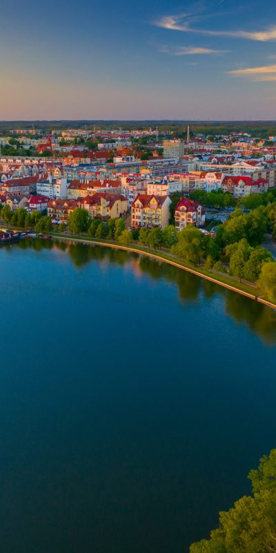 Aerial view of the Town of Elk in Poland at twilight.